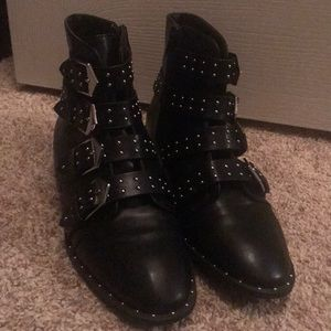 Black buckle boots with small studs from F21